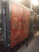 Splendido armadio Shanxi in lacca rosso nera