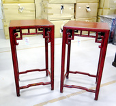 Tavolini Da Thè Cinesi In Lacca Rossa