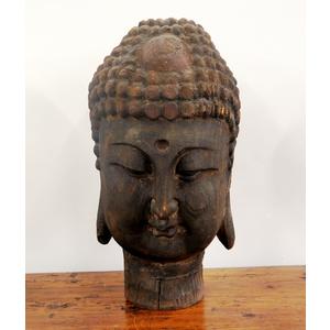 STATUE - GRANDE TESTA DI BUDDHA IN LEGNO - SS-08413