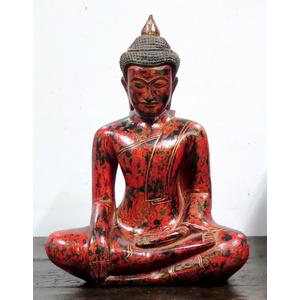 OGGETTI, COMPLEMENTI - STATUA LIGNEA BUDDHA POSIZIONE LOTO - OC-09773