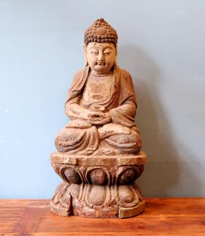 OGGETTI, COMPLEMENTI - STATUA CINESE BUDDHA LIGNEO - OC-10542