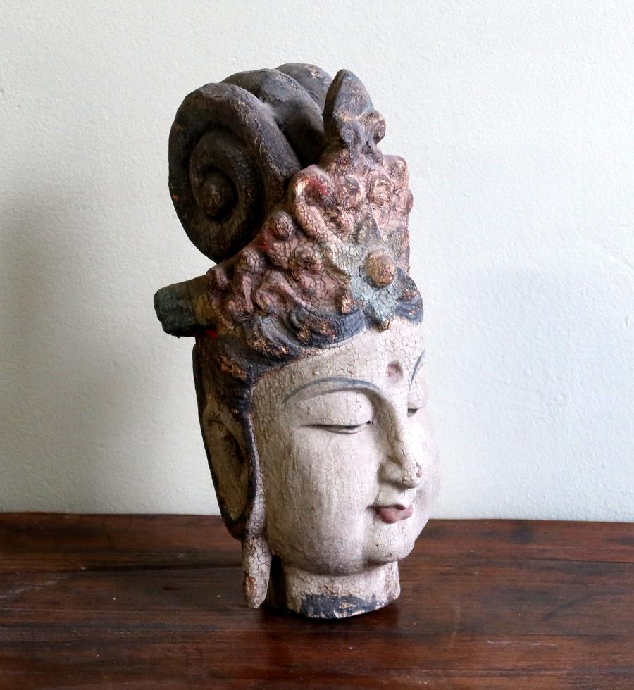 STATUE - TESTA DI BUDDHA LIGNEA (CINA) - SS-10708
